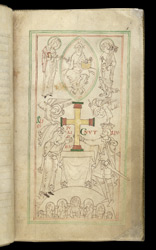 Cnut and Aelfgifu Present a Cross to the New Minster, in The Liber Vitae of New Minster and Hyde Abbey